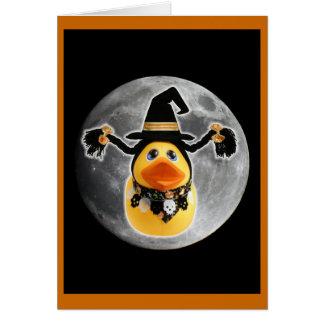 Cartão A bruxa Ducky faz a aterragem de lua!