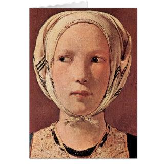 Cartão A cabeça da mulher frontal por Georges de La Tour