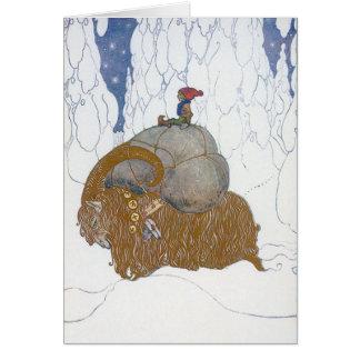 Cartão A cabra Julbok do Natal por John Bauer