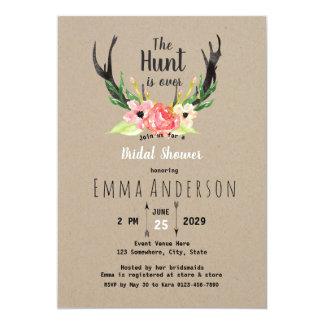 Cartão A caça floral rústica de Boho está sobre o chá de