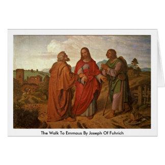 Cartão A caminhada a Emmaus por Joseph de Fuhrich