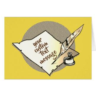 Cartão a caneta de papel velha da tinta e de quill