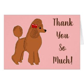 Cartão A caniche vermelha cora obrigado que cor-de-rosa