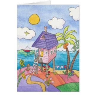 Cartão A casa cor-de-rosa pequena