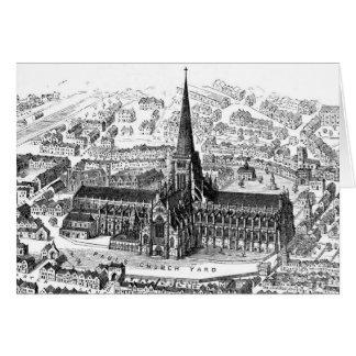 Cartão A catedral de St Paul velho, cerca de 1555