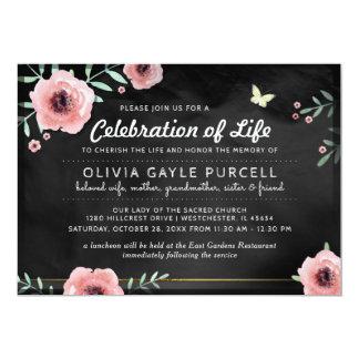 Cartão A celebração da vida convida o rosa & floral preto