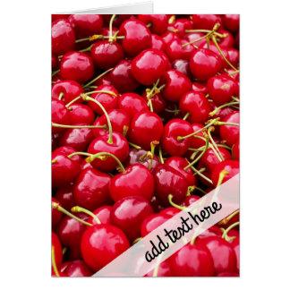 Cartão a cereja vermelha bonito deliciosa frutifica