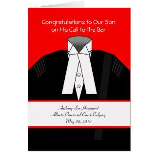 Cartão A chamada ao bar, parte dianteira feita sob