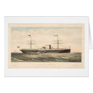 Cartão A cidade dourada do Co pacífico do navio do vapor