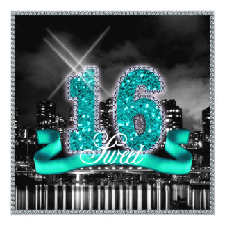 Cartão A cidade ilumina a cerceta ID120 do doce dezesseis