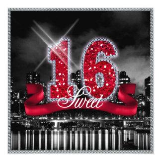 Cartão A cidade ilumina o doce dezesseis ID242 vermelho