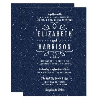 Cartão A coleção do casamento da noite estrelado