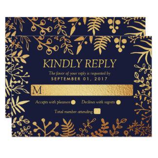 Cartão A coleção floral elegante do casamento do marinho