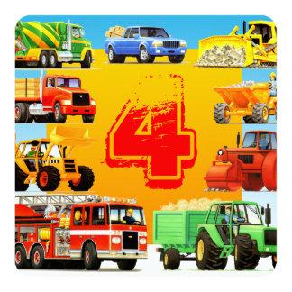 Cartão A construção transporta festa de aniversário do