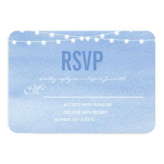 Cartão A corda azul Glaucous da aguarela ilumina RSVP