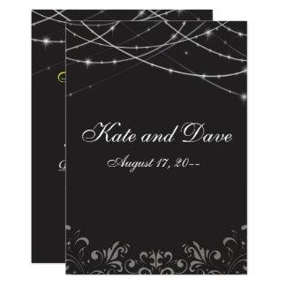 Cartão A corda branca preta gótico ilumina o monograma 3d