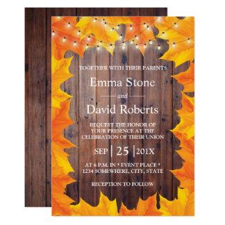 Cartão A corda das folhas de outono ilumina o casamento