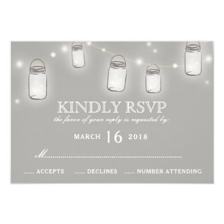 Cartão A corda do frasco de pedreiro ilumina RSVP Wedding