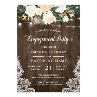 Cartão A corda floral do encanto rústico ilumina a festa