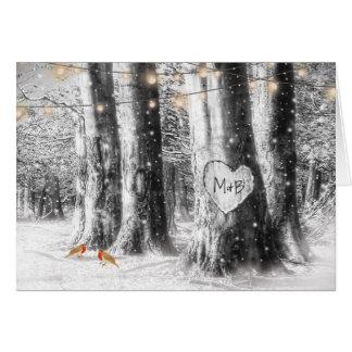 Cartão A corda rústica da árvore do inverno ilumina a