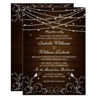 Cartão A corda rústica ilumina a festa de casamento do