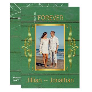 Cartão A corda verde rústica ilumina o casamento de