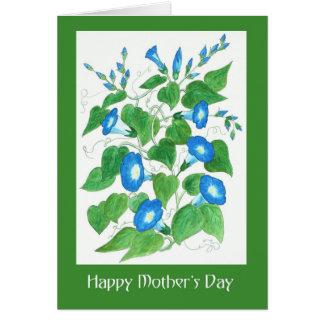 Cartão A corriola azul bonito floresce o dia das mães