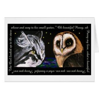 Cartão A coruja e o gatinho - arte de Bonorand