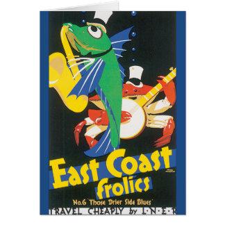 Cartão A costa leste Frolics poster das viagens vintage