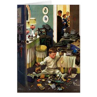 Cartão A criança esvazia bolsas
