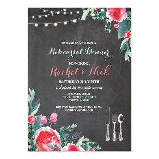Cartão A cutelaria do jantar de ensaio ilumina floral
