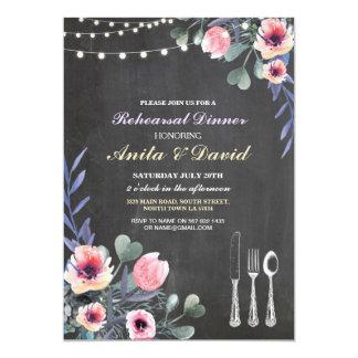 Cartão A cutelaria do jantar de ensaio ilumina o giz