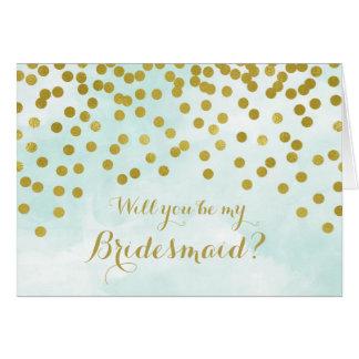 Cartão A dama de honra azul dos confetes do ouro da