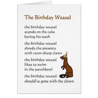 Cartão A doninhas do aniversário - um poema engraçado do