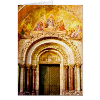 Cartão A entrada da basílica de marca de santo em Veneza