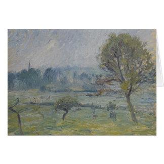 Cartão À Éragny de Brouillard por Camille Pissarro