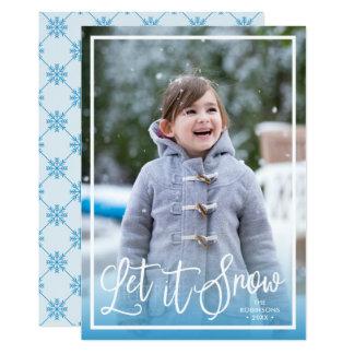Cartão A escova azul deixou-o nevar foto do feriado