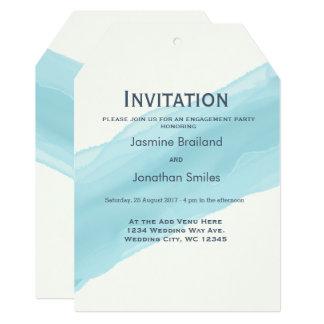Cartão A escova pintada aguarela dos azul-céu afaga