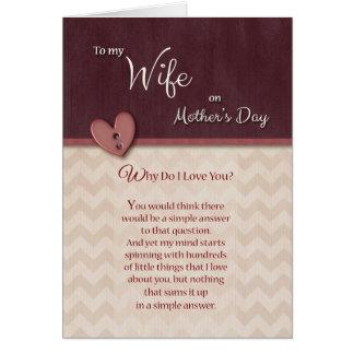 Cartão À esposa no dia das mães, por que faça eu te amo?