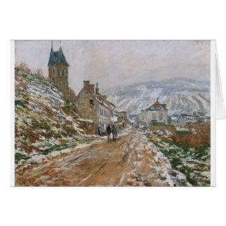 Cartão A estrada em Vetheuil no inverno por Claude Monet