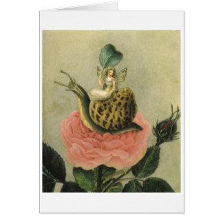 Cartão A fada, caracol e aumentou (o vazio para dentro)