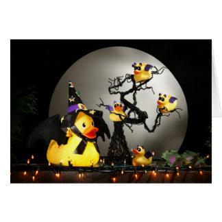 Cartão A família do pato do bastão do Dia das Bruxas