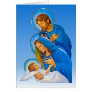 Cartão A família santamente - natividade - nascimento do