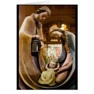 Cartão A família santamente no Natal