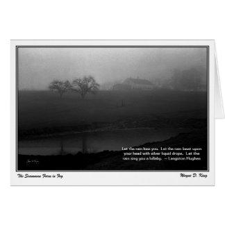 Cartão A fazenda de Scamman encoberta na névoa