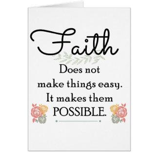 Cartão A fé não faz coisas bíblia fácil, cristã