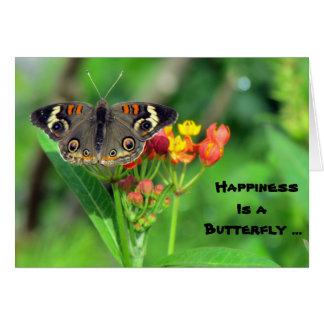 Cartão A felicidade é uma borboleta (Buckeye comum 2470)