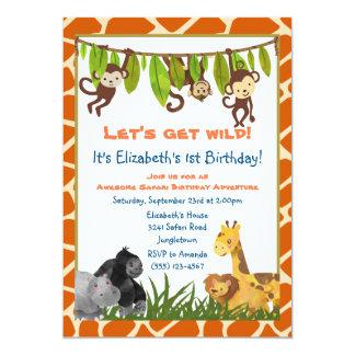 Cartão A festa de aniversário animal do tema da selva do