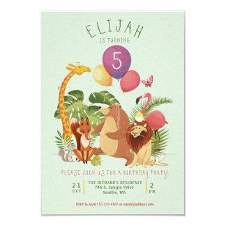 Cartão A festa de aniversário animal dos amigos do jardim