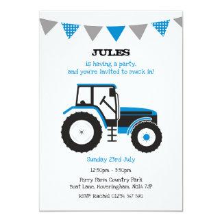 Cartão A festa de aniversário azul do trator convida